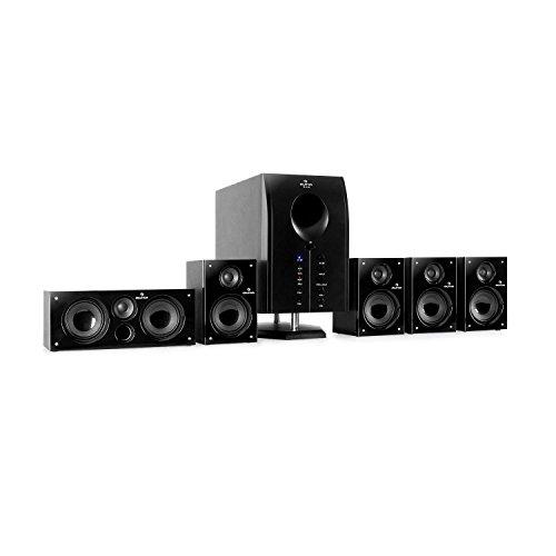 auna Areal 525 BK 5.1 Surround Sound System Heimkinosystem (125 Watt RMS, Aktiv-Mono-Subwoofer, 5,25
