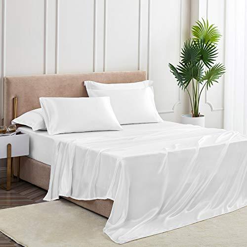 yourose 4Pcs Satin Sheets Full Size Silk Satin Bedding Sheets Set with 1 Deep Pocket Fitted Sheet, 1 Flat Sheet, 2 Pillowcase(White,Full,4pcs