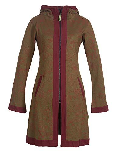 Vishes - Alternative Bekleidung - Zwei-Farbiger Damen Elfen Kurz-Mantel Zipfelkapuze Blumen-Druck Lagenlook Olive 38-40
