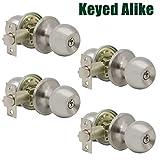 Probrico (4 Pack) Keyed Alike Entry Door Knobs Combo Pack, Entrance Lockset in Satin Nickel, Interior Exterior Ball Door Knobs with Lock and Keys