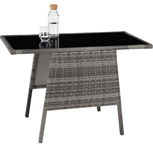 TecTake 800682 Polyrattan Sitzgruppe für 2 Personen, zusammenschiebbar, 2 Stühle & 1 Tisch mit Glasplatte, inkl. Sitz- und Rückenkissen – Diverse Farben – (Grau | Nr. 403097) - 4