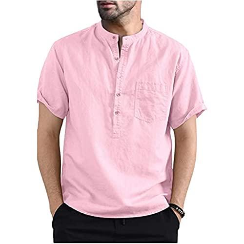 SSBZYES Herrenhemden Sommer Herren Kurzarmhemden Herren T-Shirts Baumwoll- und Leinenhemden Herren Henry Kragen einfarbige Tasche Kurzarmhemden