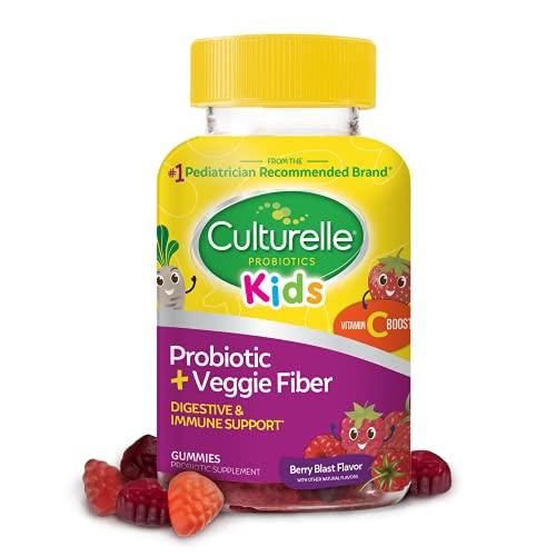 Culturelle Kids Daily Probiotic + Veggie Fiber Gummies, Prebiotic + Probiotic with Vitamin C Boost, Digestive + Immune Support*, Gluten Free, Mixed Berry Flavor, 30 Count
