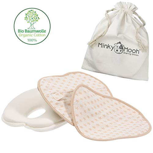 Minky Mooh Flat Head Baby Pillow Set - 2 Organic Cotton Cases | Natural Baby Head Shaping Pillow for Newborns & Infants. Prevent Newborn Baby Flathead Syndrome