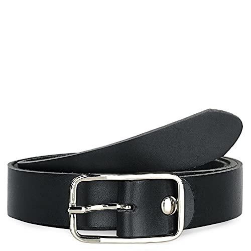Jaslen - Cinturón de cuero piel genuina. Hebilla doble. Ancho de 40...
