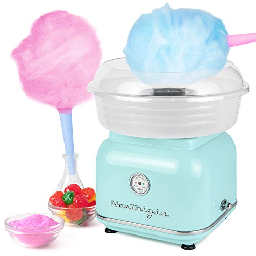 Nostalgia CLCM8AQ Classic Retro Hard and Sugar Free Countertop Cotton Candy Maker, Includes 2 Reusable Cones And Scoop – Aqua