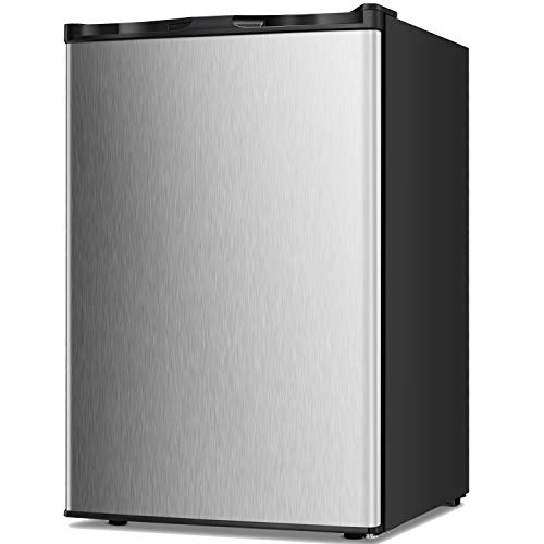 TAVATA Compact Upright Freezer Single Door Reversible Stainless Steel Door, Compact Adjustable Removable Shelves for Home Office