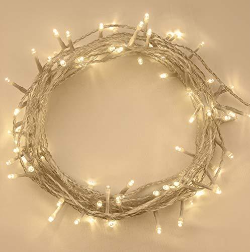Weihnachtsbeleuchtung, Lichterkette 50 LED Warmweiß Innen- und Außen 8 Modi mit Memory & Timer Funktion, batteriebetrieben - 5m / 16ft Lit Länge mit 1m / 3.3ft Lead Wire Clear Kabel