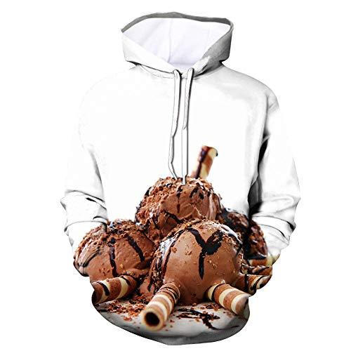 Dsti Unisex Hoodies HD 3D chocolate ice cream Print Pullover Long Sleeve Sweatshirts with Pockets for Men Women,S