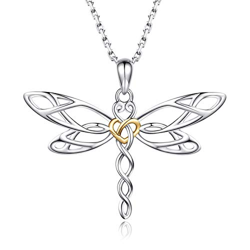 Sterling Silver Dragonfly Earrings Necklace - Celtic Jewelry Gifts for Women Dragonfly Lovers (gold heart necklace)