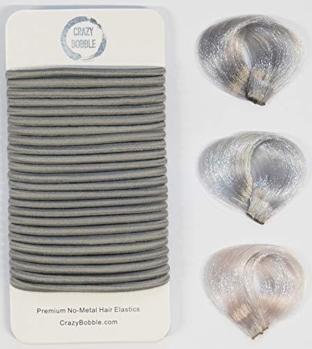 24 Pcs Grey Crazy Bobble® Premium Non-Metal Hair Elastics Hair Bands 4mm Thick Hair Ties For Adults...