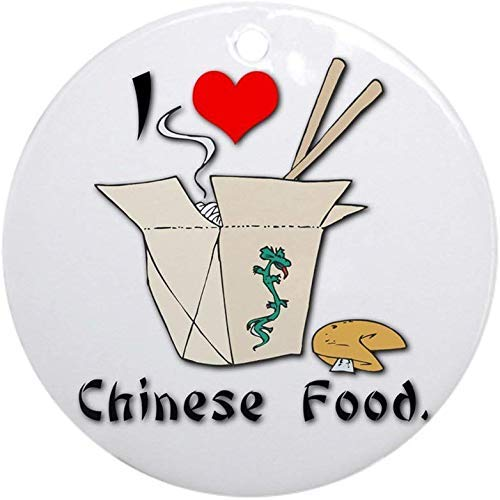 Mesllings I Heart (Love) Chinese Food Ornament (Round) Holiday Christmas Ornament Holiday and Home Decor Round Xmas Gifts Christmas Tree Ornaments Ideas 2020