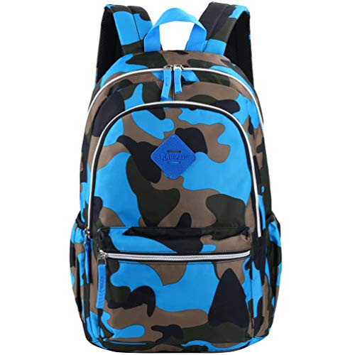 Vbiger School Backpack for Girls Boys Middle School Bookbag Casual Daypack (Camouflage Blue)