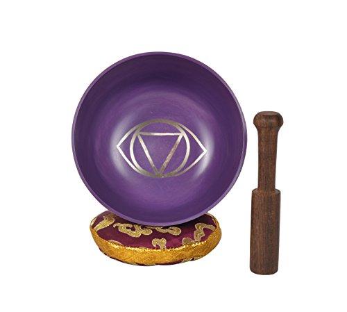 Cuenco de meditación tibetano Ajna Chakra Cuenco de oración curativa, yoga con mazo y almohada (MH-SING-1071-XL)