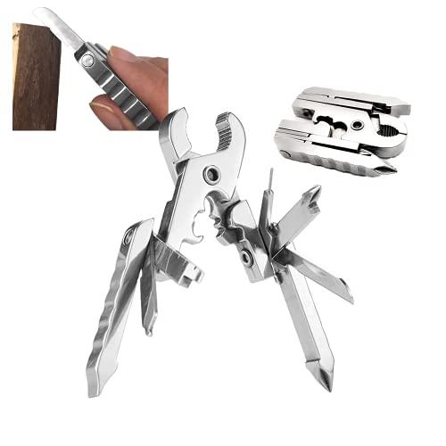 Alicates plegables multifuncionales Herramienta EDC integrada, 15 en 1 Alicates multiusos de acero inoxidable, Cuchillo plegable para acampar al aire libre (2PCS)