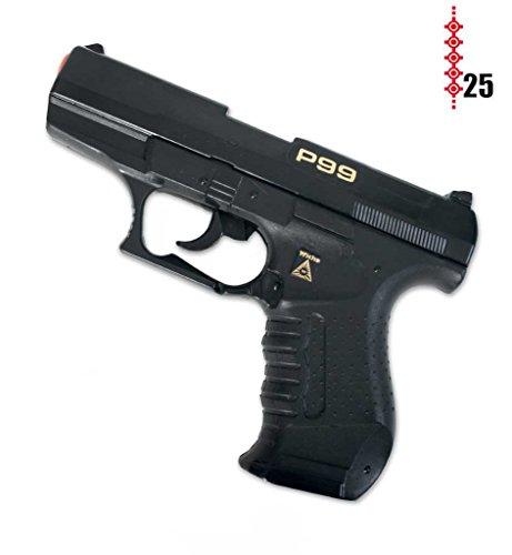 Pistole Agent P99, (25er-Streifen Munition), ca. 18 cm Länge, Spielzeugpistole, Kinderspielzeug, Spielzeug, Plastikpistole, Karneval, Kostümzubehör