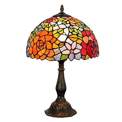NBVCX Furniture Decoration Desk Lamp Vintage Tiffany Table Lamp Stained Glass Shade Resin Base for Bedroom Living Room Reading Lighting Coffee Table 12 Inch