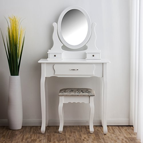 Cherry Tree Furniture Vanity Dressing Table Makeup Dresser Set with Stool...
