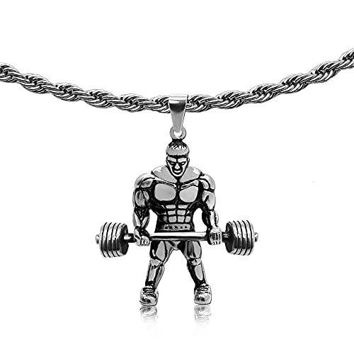 tumundo Edelstahl Schlangenkette Ø 2mm + Ketten-Anhänger Fitness Sport Gewicht Hantel Bodybuilding Hals-Kette Golden Silbern, Variante_:Variante 10