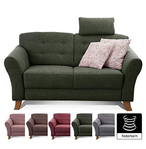 Cavadore 2-Sitzer-Sofa / Moderne Couch im Landhausstil mit Knopfeinzug im Rücken / Federkern / Inkl. Kopfstütze / 163 x 89 x 90 / Flachgewebe grün