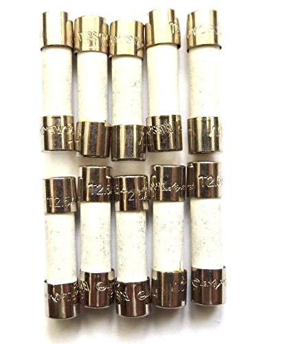 Sicherung, 2,5 A, 20 mm, Überspannungsschutz, T2.5a H, 250 V, Keramik, Zeitverzögerung, Antispannung, 10 Stück