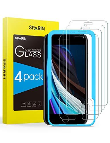 SPARIN [Lot de 4] Verre Trempé Compatible avec iPhone SE 2020, iPhone SE 2, iPhone 8, iPhone 7 / 6s Film Protection Écran, Vitre Protecteur avec Outil D'alignement Facile, 9H Dureté