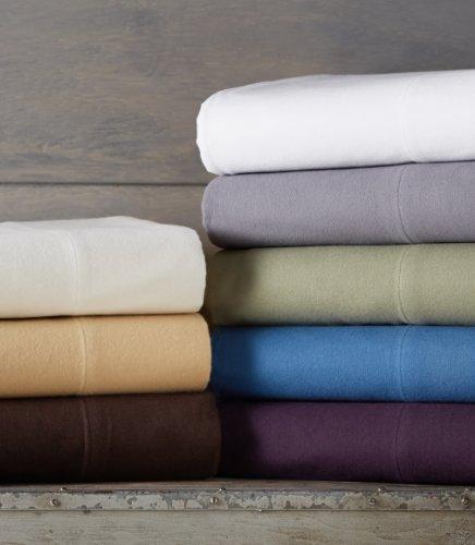 Amazon Brand – Pinzon Signature Cotton Heavyweight Velvet Flannel Sheet Set - King, Smoky Blue