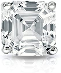 IGI Certified Platinum 4 Prong Martini Asscher Diamond SINGLE STUD Earring 1 ct G H VS2 SI1 product image