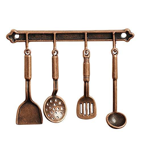 floatofly 5 Piezas Miniatura Mini Modelos De Casa De Muñecas DIY Decoración Kit De Casa De Muñecas Cocina Casa De Muñecas Cuchara En Miniatura Utensilios De Cocina Kit De Accesorios De Bricolaje Cobre