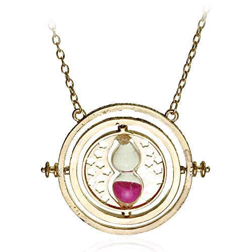 DTKJ Hp Time Turner Necklace Hermione Granger Rotating Spins Hourglass Pendant Fashion Movie Jewelry for