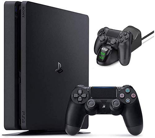 2020 Playstation 4 PS4 Slim 1TB Console Holiday Bundle, Light & Slim PS4 System, 1TB Hard Drive Ghost Manta Charging Station Dock
