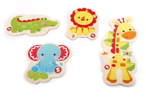 Fisher-Price - Conjunto de puzles para niños, mi primer puzzle magnético, león, cocodrilo, jirafa y elefante (Mittel 2000 -A)