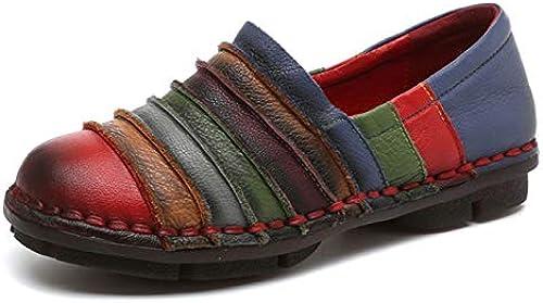 Qiusa zapatos Arco Iris para mujer Colorido Cuero Plano Cómodo Deslizamiento en Mocasines (Color   rojo, tamaño   EU 39)