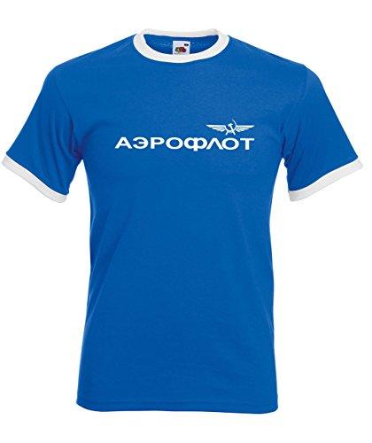 Aeroflot Camiseta retro original con icónicas rayas de contraste en cuello y...