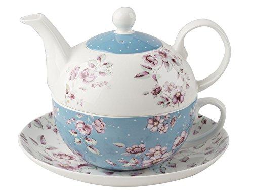 Katie Alice Ditsy Floral Juego de té para uno con platillo, Color Blanco