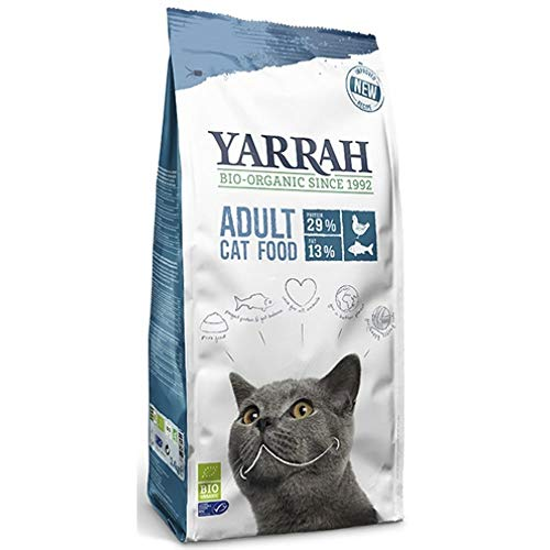 Yarrah BIO Nourriture sèche (Pour chats), BIO pour Tout Type de Chat, Chaton au Senior - Un Repas Nutritionnellement Complet - sans Additifs Artificiels, Pesticides (Adulte Poisson, 2.4 kg)