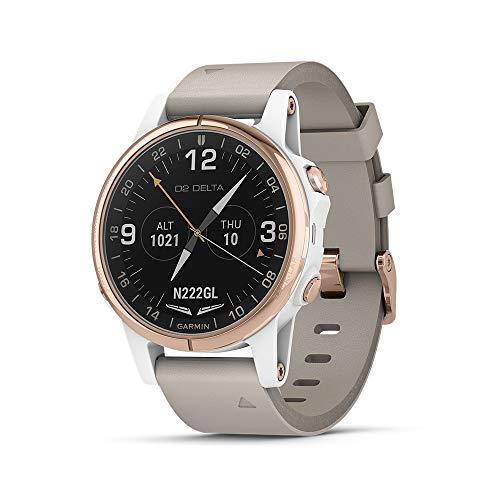 Garmin D2 Delta GPS Pilotenuhr, inkl. Smartwatch Features, Herzfrequenz & Musik, Delta S, Beige Leather Band