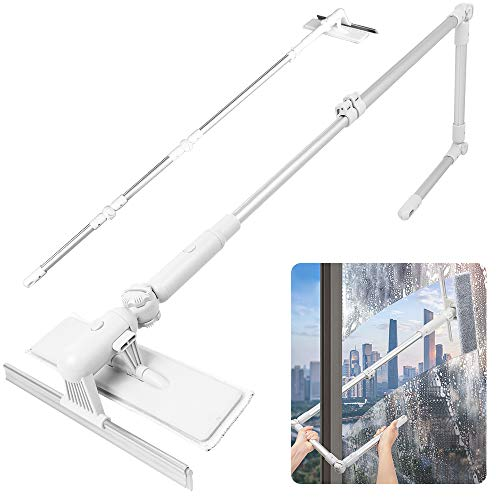 Window Squeegee with Scrubber Up to 81 inch Length Adjustable, Tomorotec Professional Telescopic Squeegee Window Cleaner for Shower Doors, Bathroom, Window and Car Glass