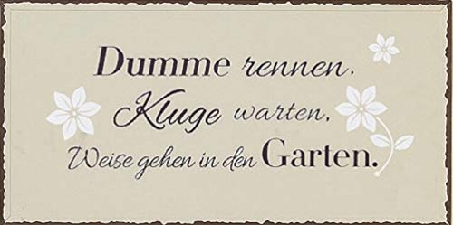 B.H.C. Grosses Vintage Garten Blechschild, Modell DUMME RENNEN KLUGE WARTEN.Material Metall, Maße 40 x 20 cm, Creme, ideal für Garten, Terrasse, Bar, Cafe, Cafeteria oder einfach Zuhause.
