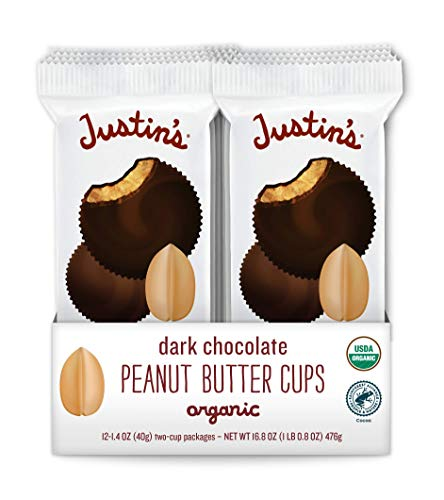 Justin's Organic Dark Chocolate Peanut Butter Cups, Rainforest Alliance Certified Cocoa, Gluten-free, Responsibly Sourced, 12 Packs of 2-Cups each