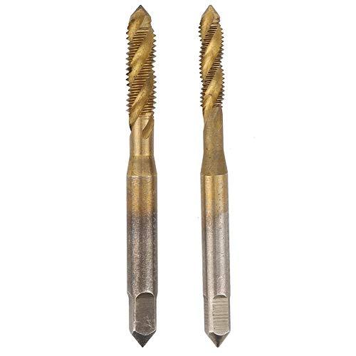 M5 + M6 Hochgeschwindigkeits-Stahlgewindebohrer, Gewindebohrer 2 Stück Handwerkzeug-Gewindebohrer, Spiralgewindebohrer für die Verarbeitung von Edelstahl-Spiral-Kobalt-Maschinen