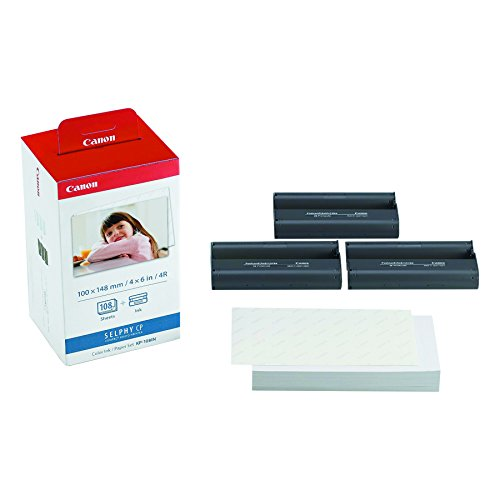 Canon KP-108IN Carta fotografica (108 fogli 10x15 cm) e cartuccia colore per stampante Selphy, 3115B001(AA), termosublimazione
