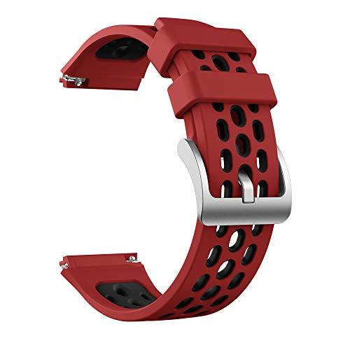 TRSX Reloj Correa Silicone Reloj Correa para reemplazo de Banda de Reloj Cinturón de Pulsera de 22 mm (Band Color : Red Black, Band Width : Only The Strap)