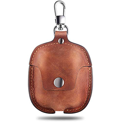 AirPods Case Leather Genuine Leather Protective Portable Shockproof Cover with Key Chain Compatible...