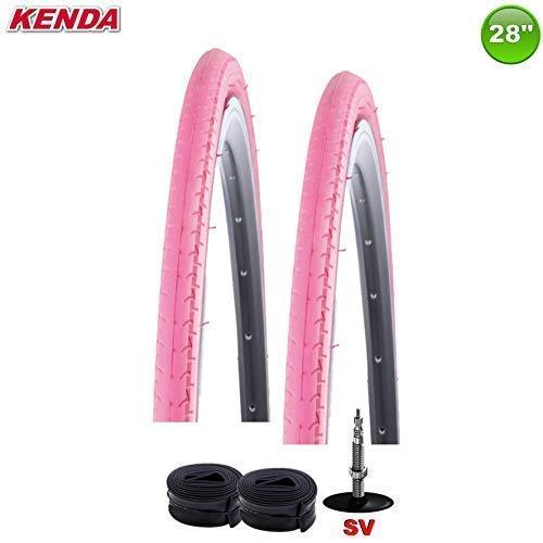 2 x Kenda Kontender K-196 Rennradreifen Decke - 700 x 26C Pink + 2 Schläuche SV