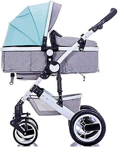 YQLWX Cochecito, Cochecito de Alto Paisaje Carruaje de bebé Viaje Infantil Buggy Buggy Puede Sentarse y acostarse para 0-3 años de antigüedad Cochecito de Cochecito Marco de Aluminio, Gris