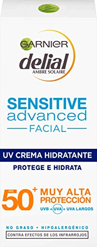 GARNIER DELIAL Sensitive Advanced - Crema Facial Hidratante Alta Protección Solar IP50+ - 50 ml