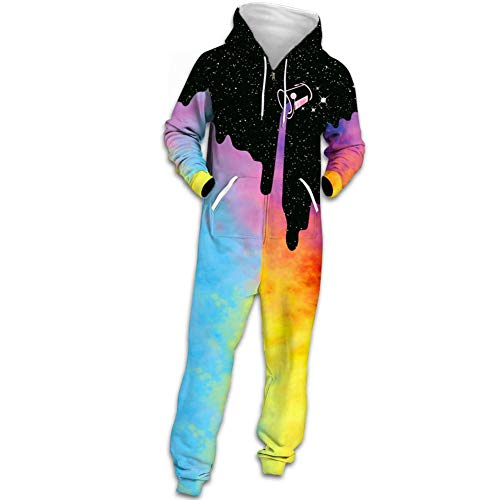 Unisex Strampler Hoodie Drops Milchflasche 3D Print Jumpsuit Fashion Galaxy Print Reißverschluss Warme Pyjamas Freizeitkleidung,S