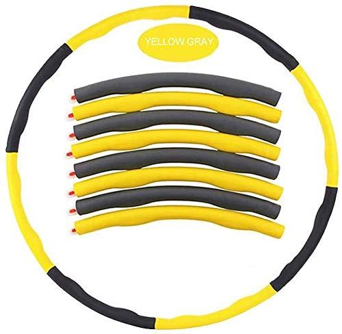 Bradoner Hula Hoop, Yoga Fitness Hula Hoops para adultos y niños, 8 piezas tubos ponderados Hula Hoop para adultos niños, aros de Hoola desmontable para cintura delgada Fitness Deporte Ejercicio Train