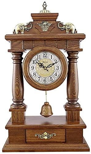 Reloj de repisa de madera maciza Reloj de escritorio Relojes antiguos para el hogar de metal elefante tallado decorativo retro decoración de la habitación de regalo funciona con pilas (color A: A)